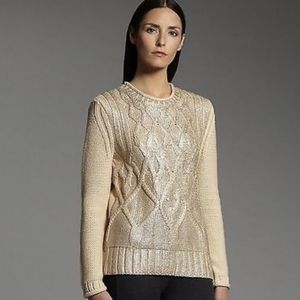 Narciso Rodriguez Gold Cable Knit Sweater XS